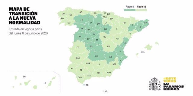 """Mapa explicativo de España sobre la Transición hacia la """"nueva normalidad"""" y que entrará en vigor a partir del día 8 de junio de 2020. En Madrid, (España), a 5 de junio de 2020."""