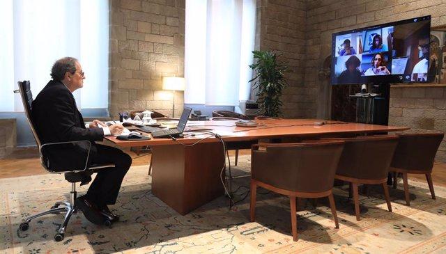 El presidente de la Generalitat, Quim Torra, ha presidido este viernes la quinta reunión telemática de la Comisión para la reactivación económica y protección social por el coronavirus