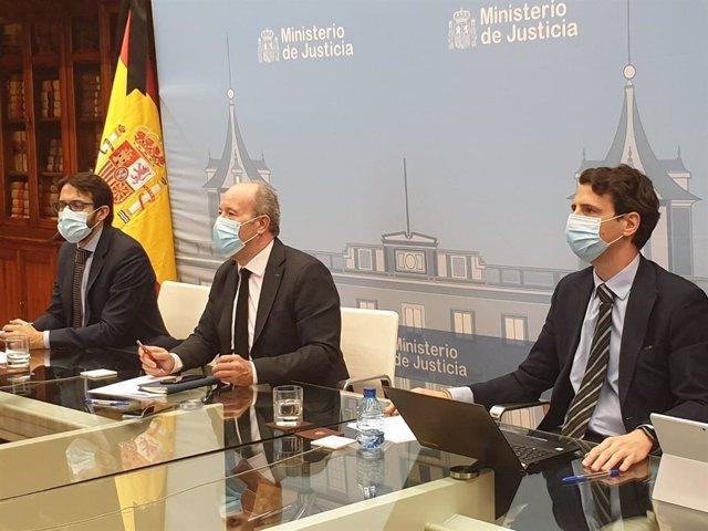 El ministro de Justicia, Juan Carlos Campo, en la reunión de la Comisión de Coordinación de Crisis del covid-19 en la Administración de Justicia, el 5 de junio de 2020.