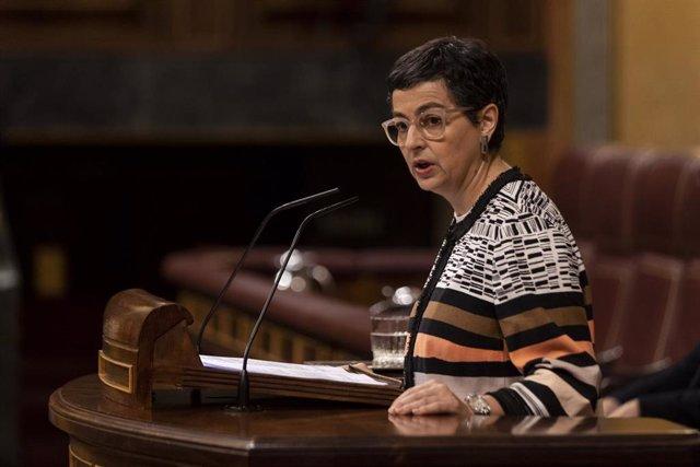 La ministra de Asuntos Exteriores, Unión Europea y Cooperación, Arancha González-Laya, defiende ante el Pleno el Acuerdo Internacional en materia de fiscalidad y protección de los intereses financieros entre España y Reino Unido sobre Gibraltar.