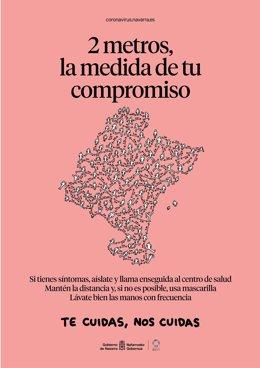 Cartel en castellano de la campaña 'Dos metros, la medida de tu compromiso'