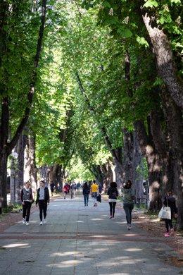 Imagen de Vitoria en el primer día en el que se permite a los mayores de 14 años salir a la calle a dar paseos y a hacer deporte en distintas franjas horarias, en Vitoria/Álava/País Vasco (España) a 2 de mayo de 2020.