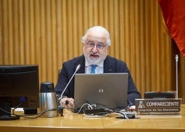 El presidente de la Confederación Española de Comercio (CEC), Pedro Campo, en su comparecencia este viernes en el Congreso