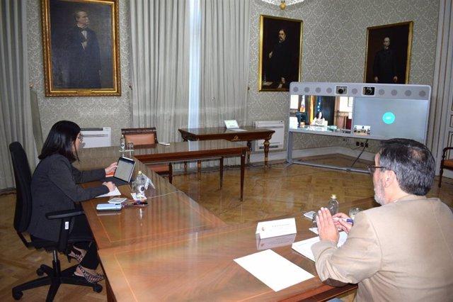 La ministra de Política Territorial y Función Pública, Carolina Darias, en una reunión por videoconferencia con la consellera de Administraciones Públicas, Isabel Castro