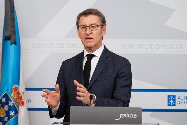 El presidente de la Xunta, Alberto Núñez Feijóo, en la rueda de prensa tras el Consello.
