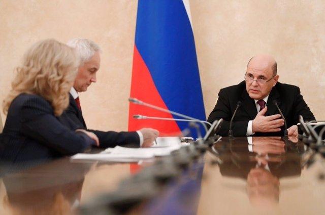 El primer ministro de Rusia, Mijail Mishustin, en una reunión gubernamental