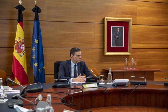 El presidente del Gobierno, Pedro Sánchez, durante la reunión del Consejo de Ministros que aprobará la sexta prórroga del estado de alarma, en Madrid (España), a 5 de junio de 2020.