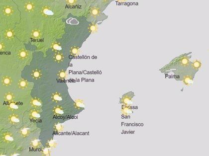 La Comunitat Valenciana vivirá un sábado soleado aunque podrían crecer nubes y tormentas por la tarde en Castellón