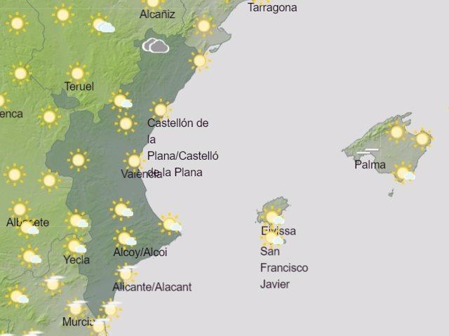 Predicción de Aemet para la Comunitat Valenciana del 6 de junio de 2020