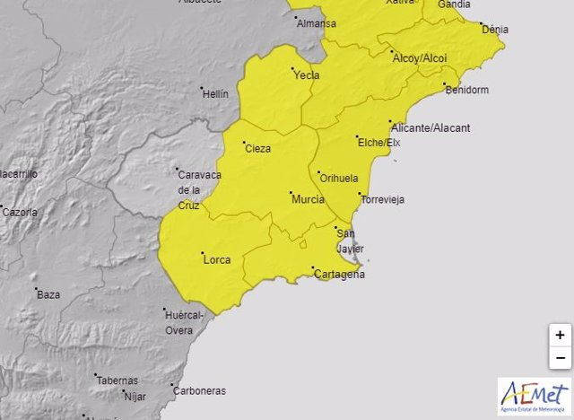 Mapa de la alerta amarilla por lluvias de este lunes