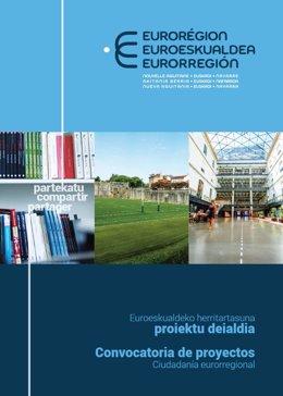 Cartel de la convocatoria de proyectos en los ámbitos de la ciudadanía eurorregional de la Eurorregión Nouvelle Aquinaine – Euskadi - Navarra