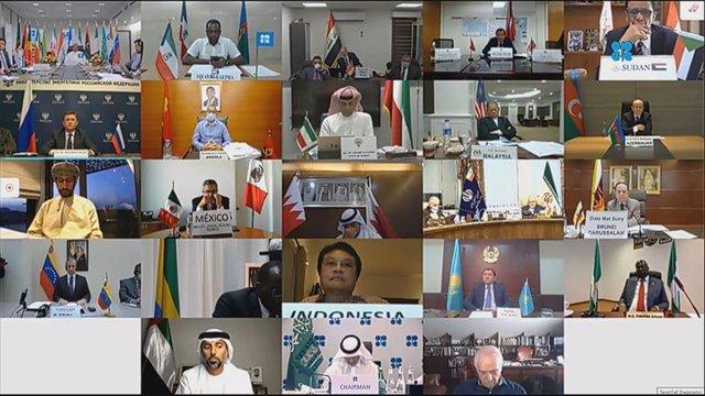 Reunión de la OPEP y sus aliados (OPEP+) el 6 de junio de 2020.