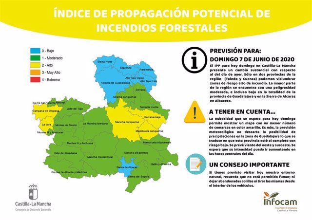Mapa de IPP para este domingo, 7 de junio, en C-LM.