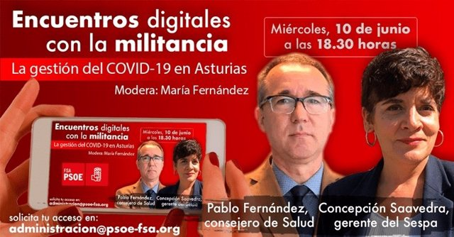 Cartel de la FSA-PSOE sobre un encuentro con la militancia para hablar de la gestión de la crisis del nuevo coronavirus