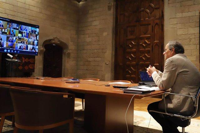 El presidente de la Generalitat, Quim Torra, en la décimotercera reunión de presidentes autonómicos por el coronavirus, a 7 de junio de 2020.