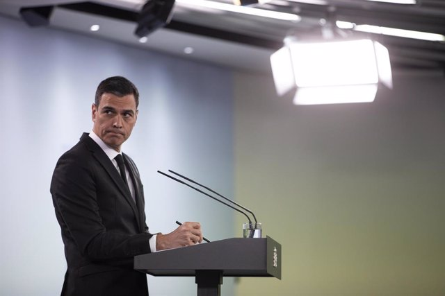 El president del Govern, Pedro Sánchez, durant una compareixença en roda de premsa.