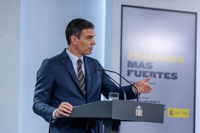 El presidente del Gobierno, Pedro Sánchez, en la rueda de prensa de este domingo 7 de junio