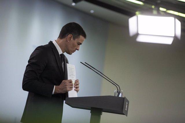 El president del Govern, Pedro Sánchez, durant la seva compareixença en roda de premsa del passat 31 de maig