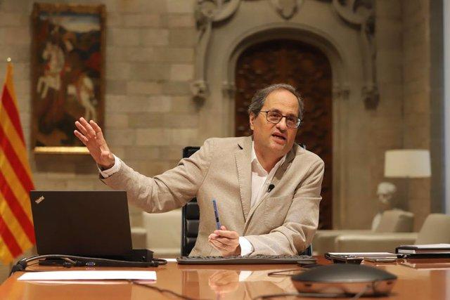 El president de la Generalitat, Quim Torra, durant la 13 reunió de presidents autonòmics pel coronavirus a 7 de juny de 2020.
