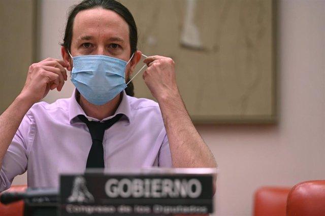 El vicepresidente segundo y ministro de Derechos Sociales y Agenda 2030, Pablo Iglesias, comparece ante la Comisión de Derechos Sociales y Políticas Integrales de la Discapacidad del Congreso de los Diputados.