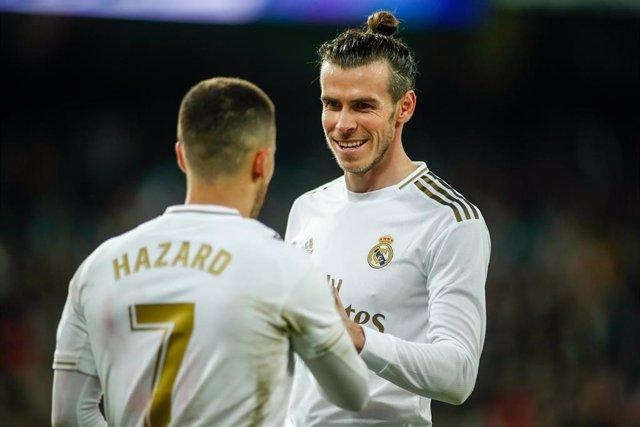 Gareth Bale of Real Madrid celebrates the penalti with Eden Hazard during the Spanish League, La Liga, football match played between Real Madrid and RC Celta de Vigo at Santiago Bernabeu stadium on February 16, 2020, in Madrid, Spain.