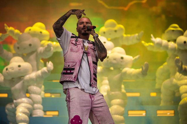 April 21, 2019 - Indio, California, United States: J Balvin performs on stage during Weekend 2 of the Coachella Valley Music and Arts Festival