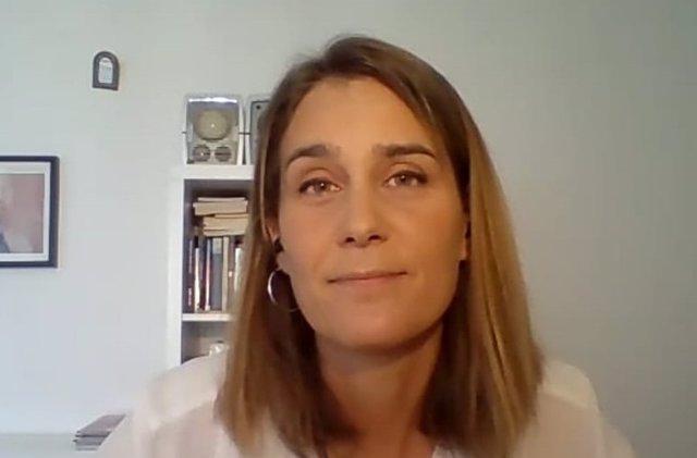 La líder dels comuns en el Parlament, Jéssica Albiach, en una roda de premsa telemàtica.