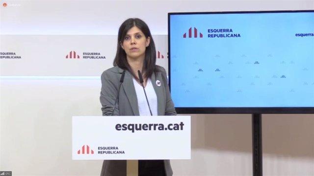 La portavoz y secretaria general de ERC, Marta Vilalta, en rueda de prensa telemática.