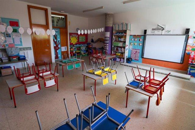 Aula de un centro de educación infantil de Valencia, cerrado por la pandemia del coronavirus.
