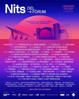 Cartell de Nits del Fòrum, organitzat per Primavera Sound, que compta amb 70 nits de música en directe aquest estiu