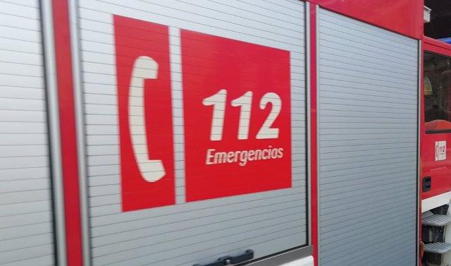 Logotipo del 112 en un camión de bomberos.