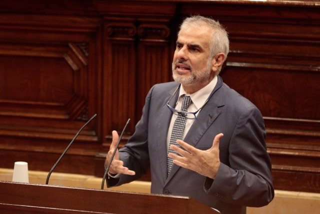 El presidente de Cs en el Parlament, Carlos Carrizosa, durante el pleno del Parlament del 4 de junio de 2020