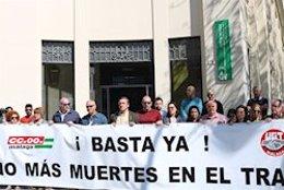 Imagen de archivo de una protesta sindical por los accidentes en el trabajo.