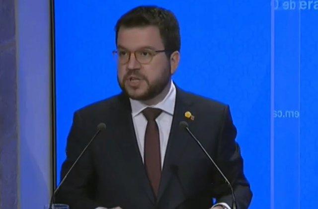 El vicepresidente del Govern, Pere Aragonès, en rueda de prensa tras el Consell Executiu.