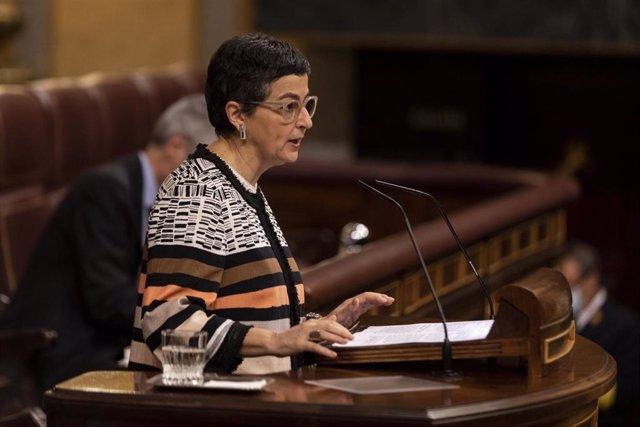 La ministra de Asuntos Exteriores, Unión Europea y Cooperación, Arancha González-Laya, defiende ante el Pleno el Acuerdo Internacional en materia de fiscalidad y protección de los intereses financieros entre España y Reino Unido sobre Gibraltar