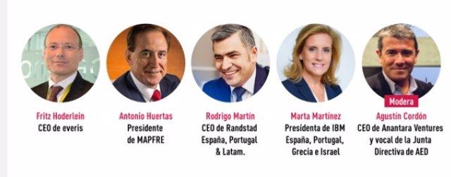 Participantes del encuentro 'online' organizado por la Asociación Española de Directivos (AED)