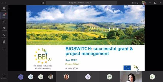 Imagen de la reunión telemática del proyecto europeo Bioswitch, que cuenta con la participación de Corporación Tecnológica de Andalucía (CTA).