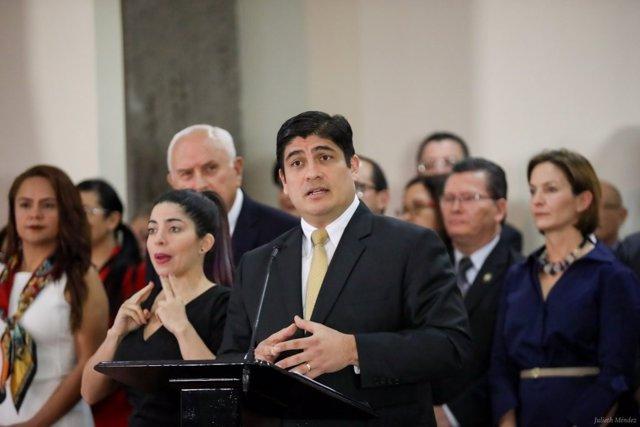 El presidente de Costa Rica, Carlos Alvarado