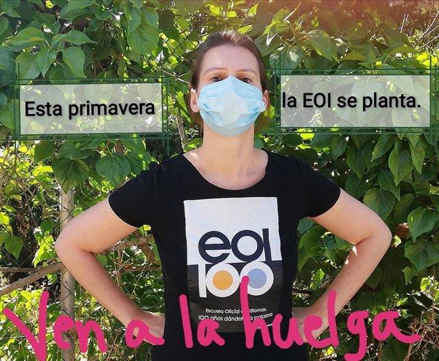 Imagen para animar al seguimiento de la huelga en las escuelas oficiales de idiomas convocada por CCOOO a partir del 15 de junio de 2020.
