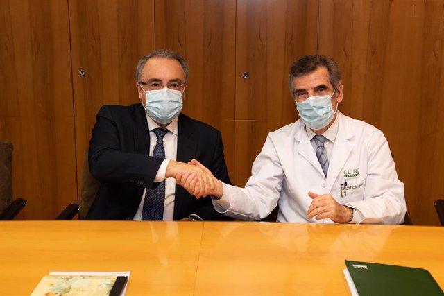 El director general del Hospital Clínic, Josep Maria Campistol, y el consejero delegado de Cellnex, Tobías Martínez, han presentado el proyecto