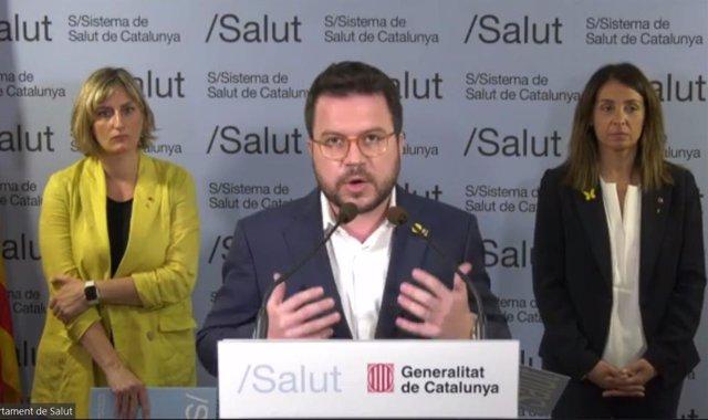 Els consellers de la Generalitat Pere Aragonès, Meritxell Budó i Alba Vergés.
