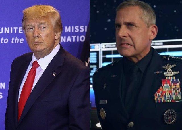 Steve Carell en Space Force y el presidente de Estados Unidos Donald Trump