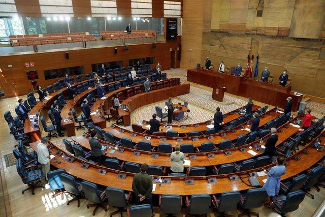 Los diputados guardan un minuto de silencio por las víctimas del coronavirus durante el pleno de la Asamblea de Madrid. Archivo.