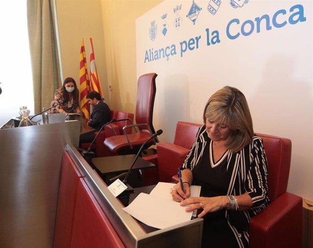 """La presidenta de la Diputació de Barcelona, Núria Marín, ha anunciat aquest dimecres que la corporació invertirà 5,5 milions d'euros en projectes supramunicipals en la Conca d'Òdena per a la """"reactivació econòmica"""" del territori."""