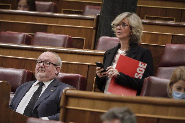 El diputado de ERC Joan Capdevila; y la diputada socialista Mercè Perea, durante el pleno celebrado en el Congreso de los Diputados este miércoles