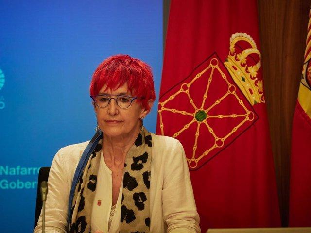 La consejera de Salud del Gobierno de Navarra, Santos Induráin, en la rueda de prensa del Gobierno de Navarra