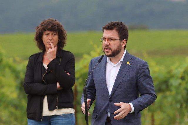 La consellera Teresa Jordà i el vicepresident, Pere Aragonès