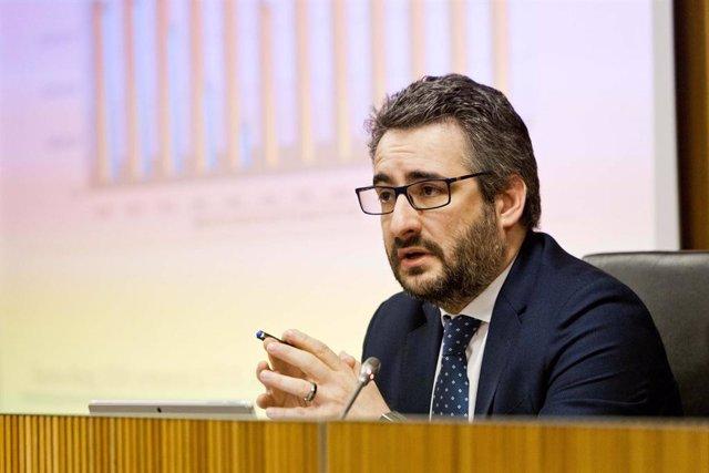 El minsitro de Finances, Eric Jover, en la compareixença davant la comissió de Finances i Pressupost del Consell General.