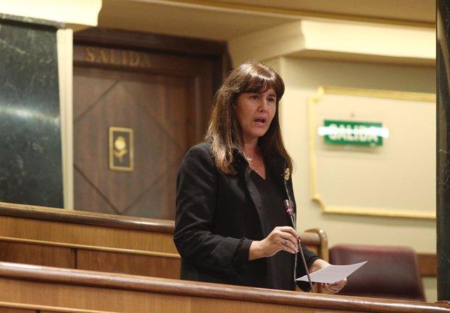 La portaveu del Grup Junts per Catalunya al Congrés dels Diputats, Laura Borràs, intervé en el ple celebrat al Congrés dels Diputats posterior a la sessió de Control on l'Executiu s'ha enfrontat a diverses consultes, on la g