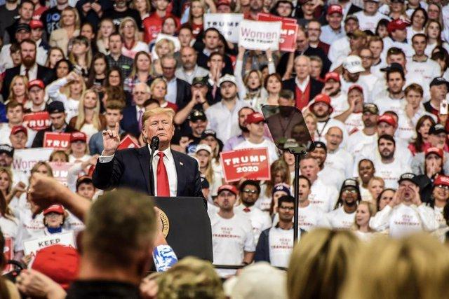 El presidente de Estados Unidos, Donald Trump, en un mítin.